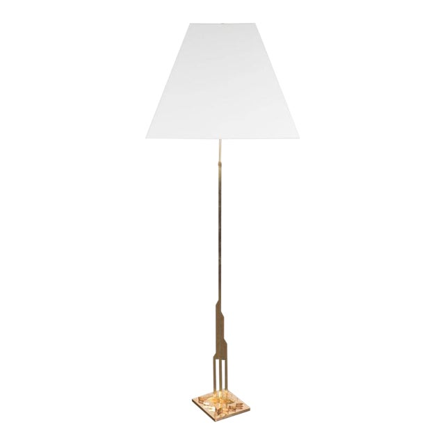 Incredible mid century modernist floor lamp in polished brass with mid century modernist floor lamp in polished brass with custom lucite shade image 1 mozeypictures Gallery