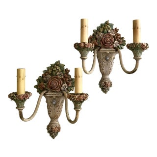 Vintage Floral Wall Sconces - A Pair