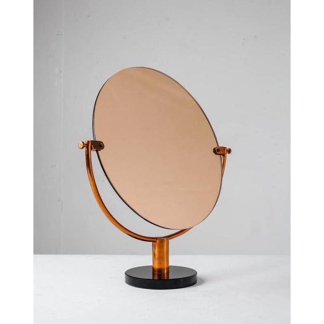 Image of Copper Console or Table Mirror on Round Glass Foot, Germany, 1920s-1930s