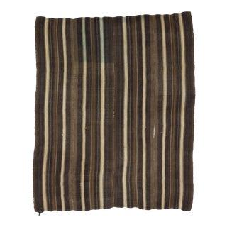 White & Brown Striped Turkish Kilim Rug - 7′1″ × 8′6″