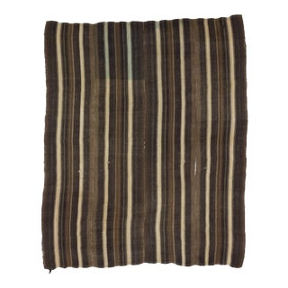 White & Brown Striped Turkish Kilim Rug - 7′1″ × 8′6″