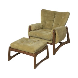 Green Adrian Pearsall Lounge Chair & Ottoman
