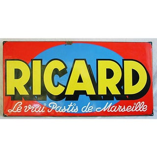 1950 French Porcelain Ricard Anisette Liqueur Sign