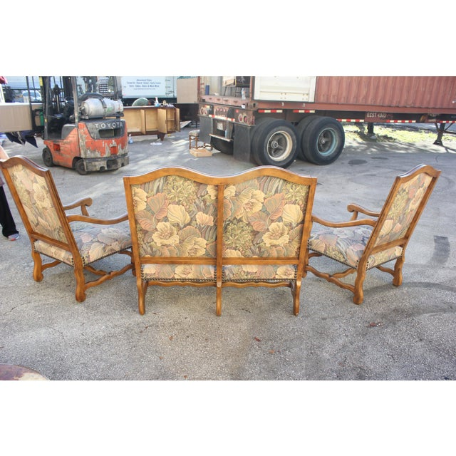 Solid Walnut Louis XIII Style Os De Mouton 2 Armchairs 1 settees Circa 1900s - Set of 3 - Image 3 of 11
