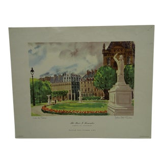 "1976 ""The Paris I Remember"" New York Graphic Society Print"