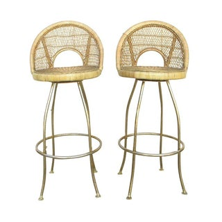 1960s Wicker Bar Stools - A Pair