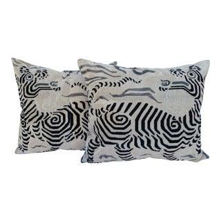 Clarence House Tibet Dragon Velvet Pillows - A Pair