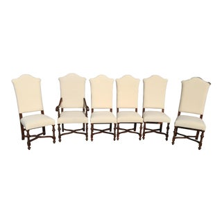 French Os de Mouton Style Walnut Dining Chairs- Set of 6