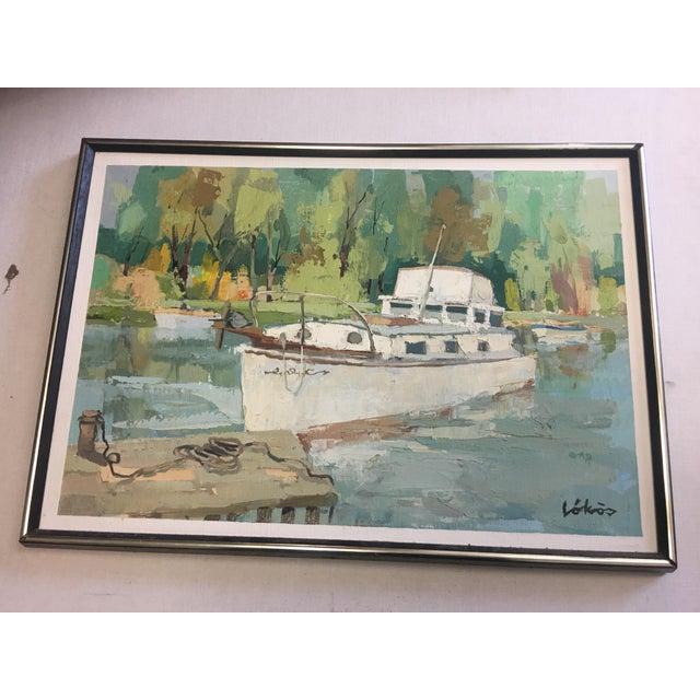Stefan Lokos Boat At the Marina Painting - Image 3 of 11