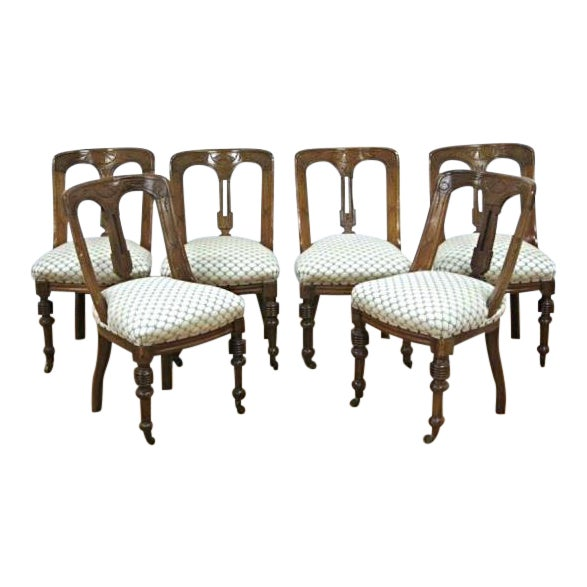 Regency Style Mahogany Dining Chairs - Set of 6 - Image 1 of 9