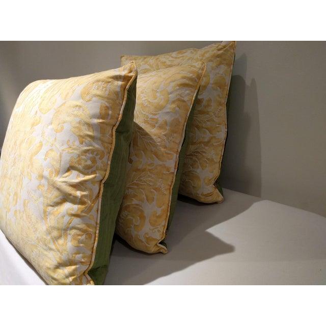 Custom Italian Gold Damask Silk Pillows - Set of 3 - Image 7 of 11