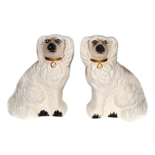 Large Vintage Staffordshire Dogs White - A Pair