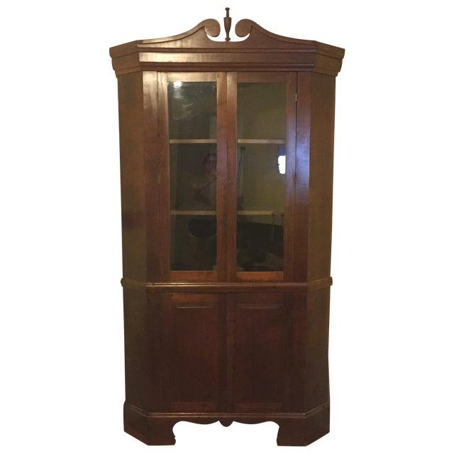 Image of Antique 1920s Break Front Cherry Corner Cupboard