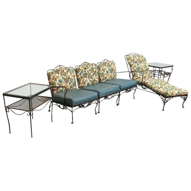 Image of Wrought Iron Patio or Garden Set, Nine Pieces