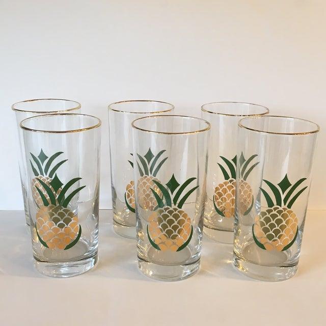Image of Foil Pineapple Highball Glasses - Set of 6