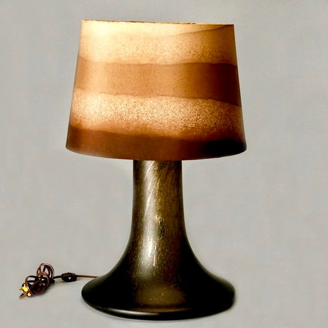 Mid Century Brown Art Glass Lamp With Original Striped Shade - Image 3 of 6