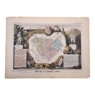 Antique Map, Provinces of France Engraving, La Haute Loire