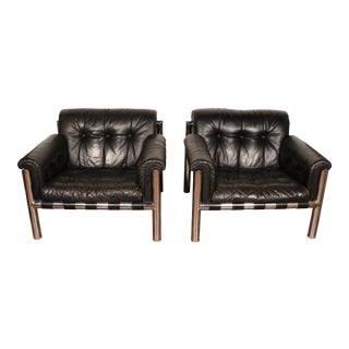 Black Leather and Chrome Club Chairs - A Pair