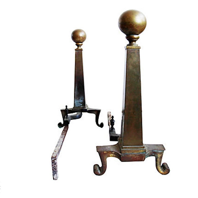 Vintage Brass Andirons - A Pair - Image 4 of 5