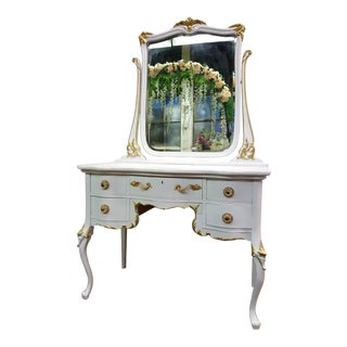 Victorian Antique White & Gold Vanity