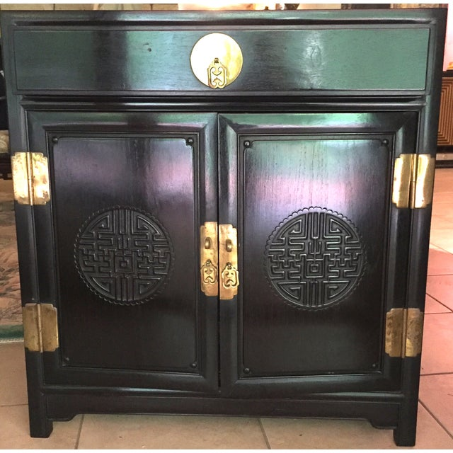 Black Lacquer Asian Side Cabinet or Nightstand - Image 2 of 3