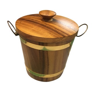 Vintage Wood & Gold Ice Bucket