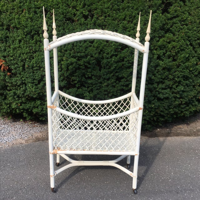 White Wicker Canopy Crib - Image 5 of 8