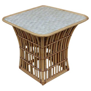 Maguire Style Rattan & Capiz Shell Side Table