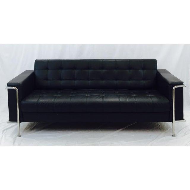 Vintage Leather & Chrome Sofa - Image 3 of 6