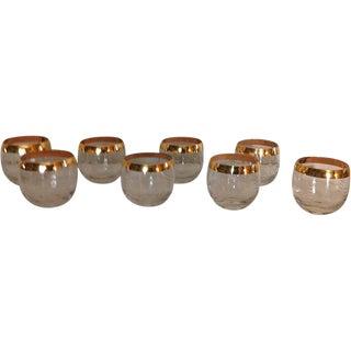 Vintage Gold Rim Highball Glasses - Set of 8