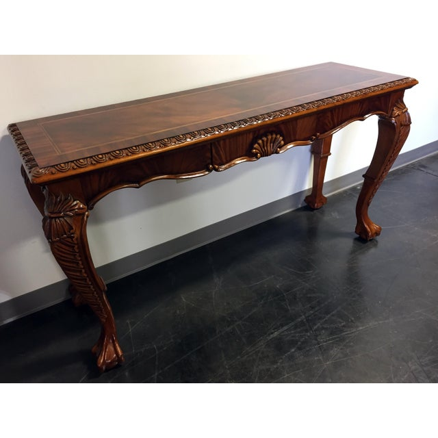 Image of Chippendale Mahogany Inlaid Console Sofa Table