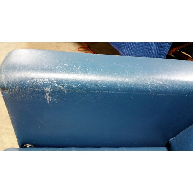 Vintage 1980s Italian Blue Leather Sofa - Image 8 of 10