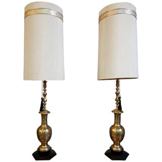 Oversize Indian Brass Table Lamps - A Pair