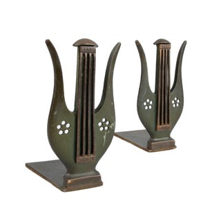 Brass Musical Harp Bookends - Pair