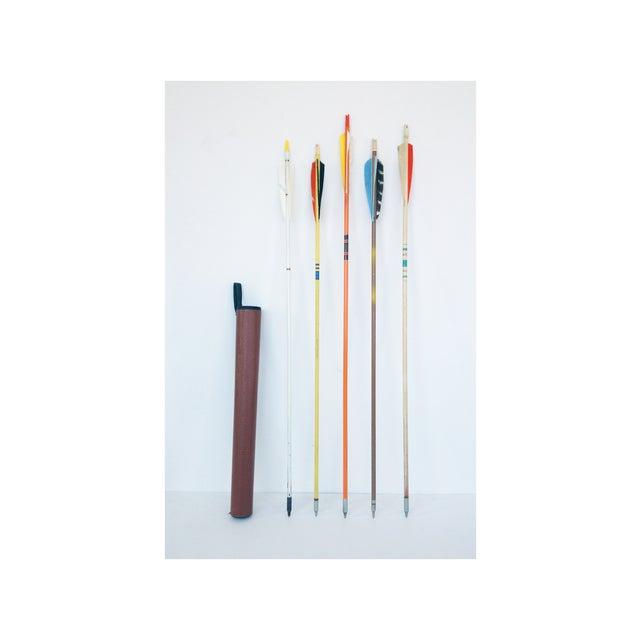 Vintage Wood Arrows & Quiver- Set of 5 - Image 2 of 5