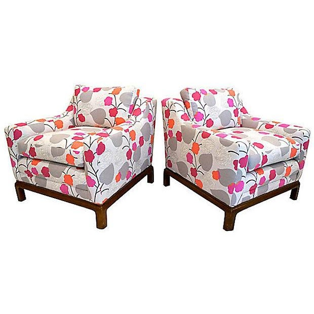 Colorful Floral Club Chairs - A Pair - Image 4 of 6