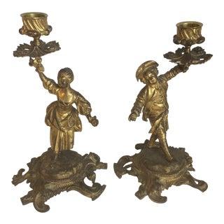 Gilt Bronze Rococo Candle Sticks - A Pair