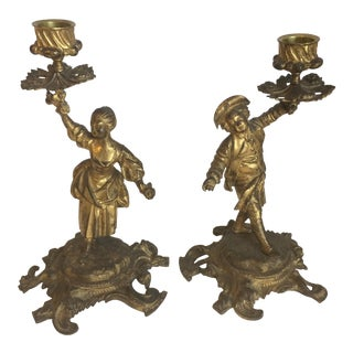 Pair of Gilt Bronze Rococo Candle Sticks
