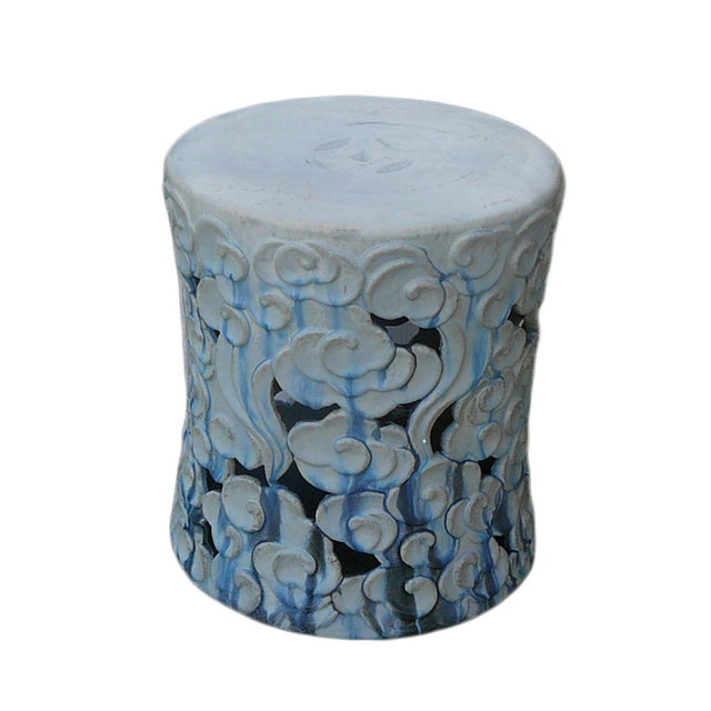 Blue Ombr Ceramic Garden Stool Chairish