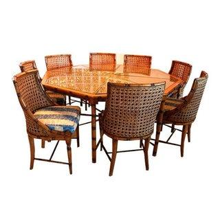McGuire Style Octagonal Rattan Dining Set