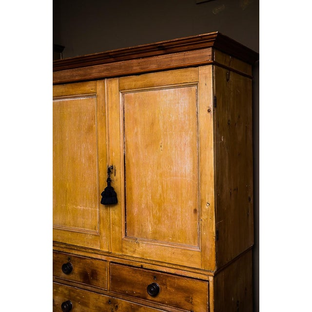 Antique Scrubbed Pine Linen Press Cabinet - Image 4 of 10
