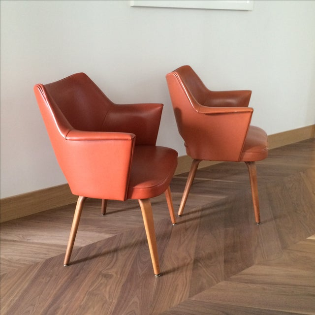 Thonet Mid-Century Burnt Orange Chairs - A Pair - Image 4 of 10