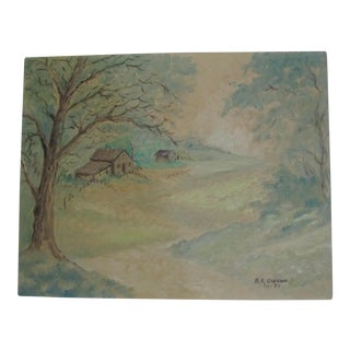 Impressionist Landscape Painting of a Small Farm