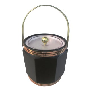 Mid-Century Black Faux Leather & Gold Ice Bucket