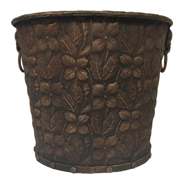 Metal Embossed Bucket with Handles - Image 1 of 6
