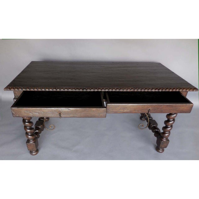 Custom Wood Writing Desk with Spiral Legs, Two Drawers and Iron Supports - Image 4 of 9