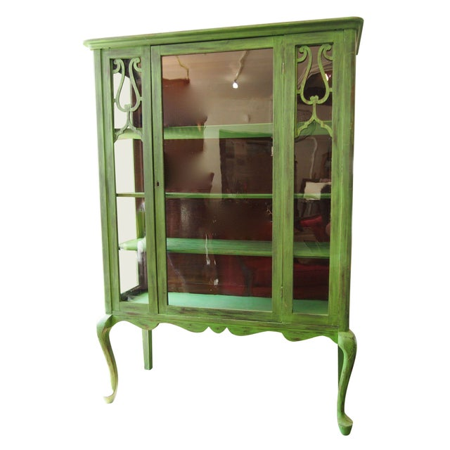 Image of Green & Glass China Cabinet with Fretwork