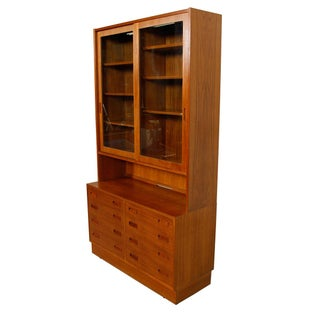 Danish Modern Teak Bookcase Display Cabinet