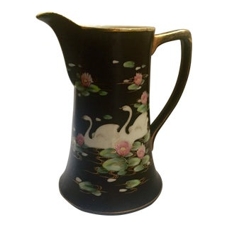 Nippon Hand Painted Swan Chocolate Pot Pitcher