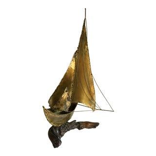 Mid-Century Sailboat on Driftwood Sculpture